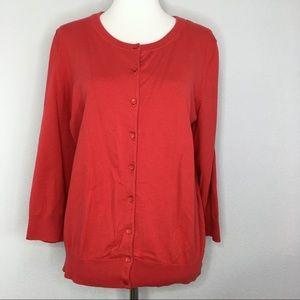Talbots Sweaters - Talbots Pima Cotton Classic Red Cardigan Large